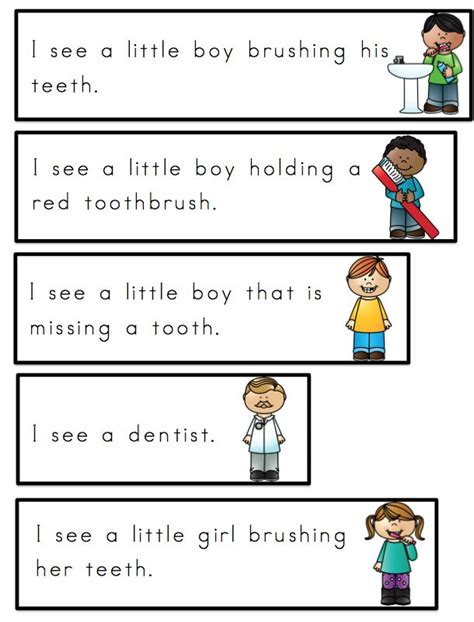word cards for sentences preschool printables free dental health word cards