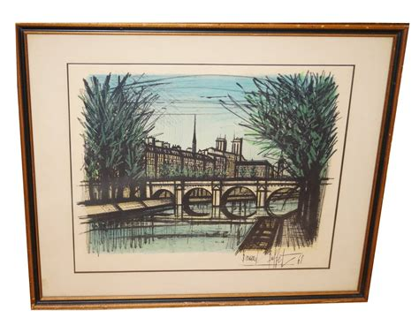 Bernard Buffet Lithograph Signed Le Pont Neuf Bridge Paris Buffet Prints