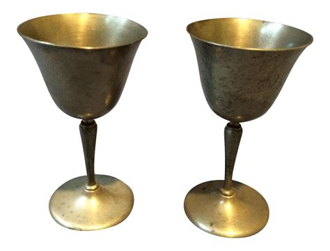 Handmade Pewter - vintage handmade pewter goblets a pair chairish