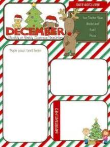 December Newsletter Template by Monthly Newsletter Template On Classroom