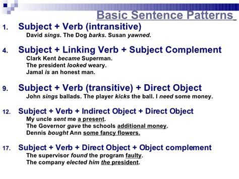 exle of basic sentences pattern sentence patterns
