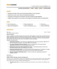 content producer free resume sles blue sky resumes