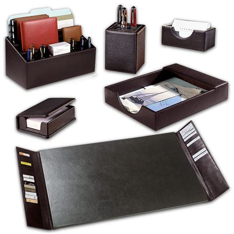 Desk Accessories Sets Desk Accessory Set Contemporary Leather 10 Desk Set Executive Desk Accessory D8420 Walnut