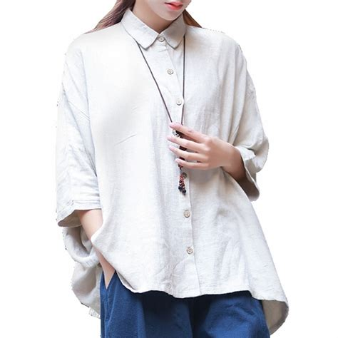 S White Sleeve Button Up Blouse by Mori Style Linen Blouse Femme 3 4 Sleeve Button Up Collar