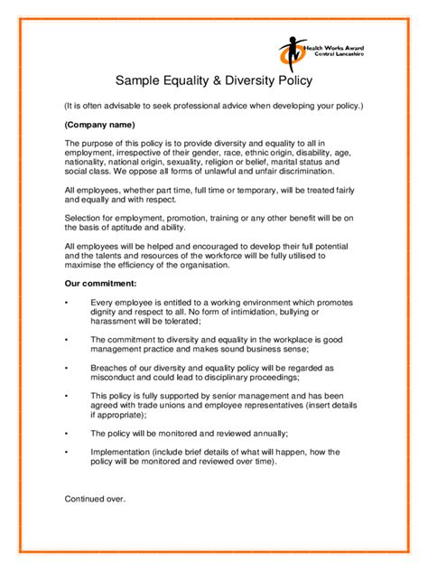 equality  diversity policy template   templates