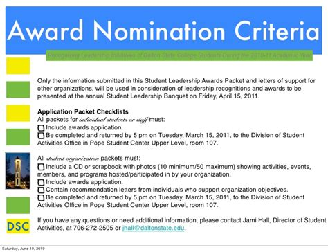 Award Nomination Letter Leadership Leadership Awards And Criteria Pdf