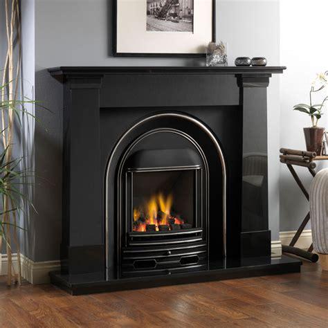 fireline oslo black granite fireplace package