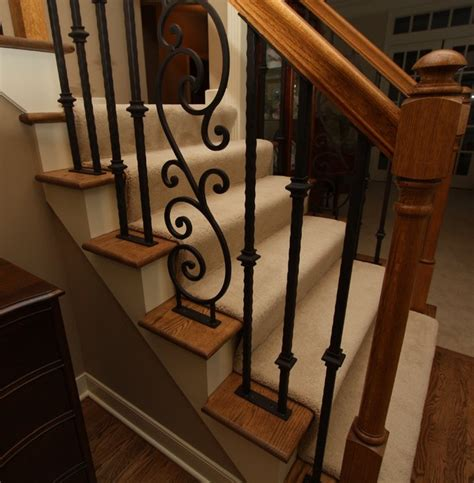 Banister Railing Parts Iron Stair Rail Traditional Staircase Cleveland By