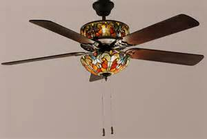 Glass Ceiling Fan Style 52 Quot Lit Stained Glass Ceiling