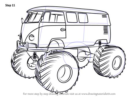 monster trucks drawings learn how to draw a volkswagen monster truck trucks step
