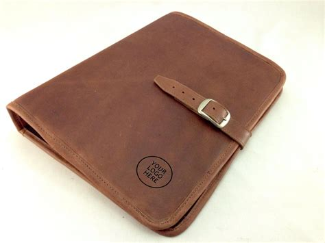 Handmade Leather Padfolio - genuine leather padfolio tanned brown letter