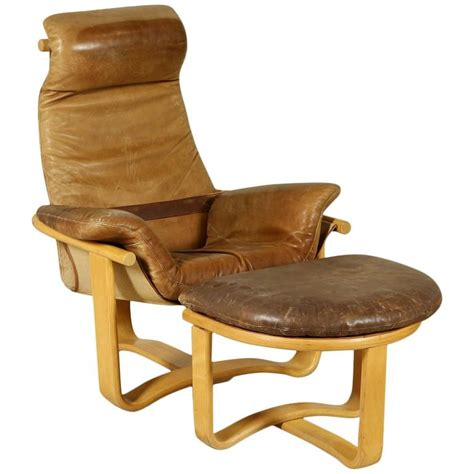 Armchair With Footrest by Armchair With Footrest Beech Bentwood Foam Leather