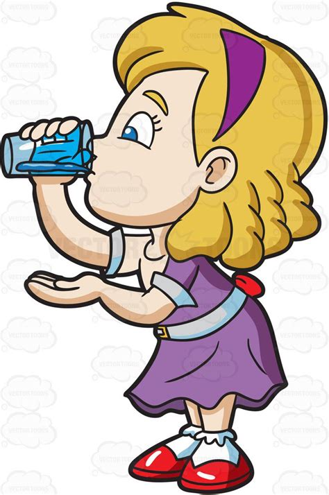 cartoon drinking a carefully drinks a glass of water cartoon clipart