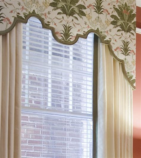 custom design window treatments custom scalloped cornice board with drapery panels top
