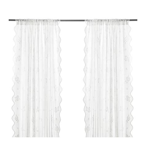 White Curtains Ikea Ikea Myrten Lace Curtains 1 Pair White Great For Layered Window Treatment Ebay