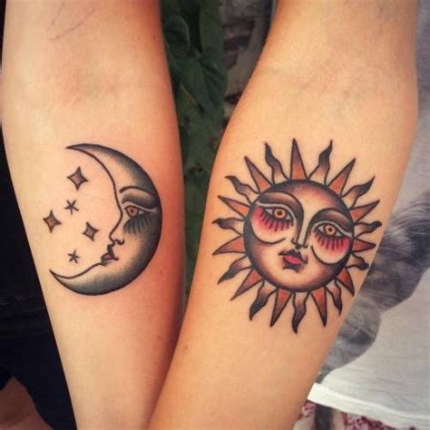 sun and moon matching tattoo traditional matching sun and moon tattoos artist
