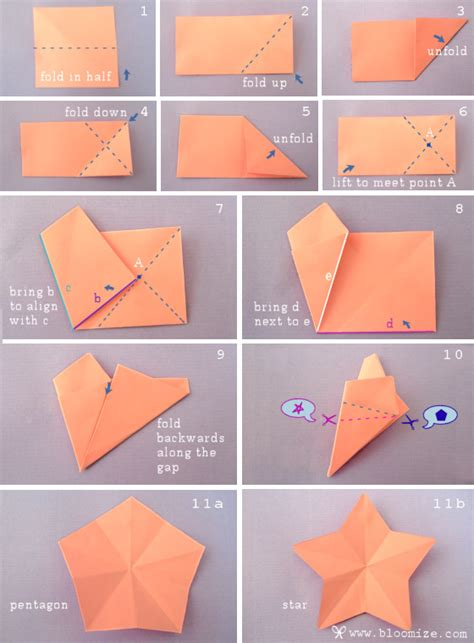 How To Cut Origami Paper - folding 5 pointed origami comot