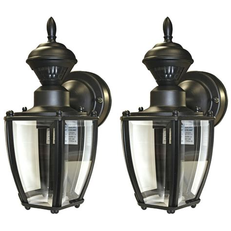 Lowes Outdoor Motion Lights Shop Secure Home 2 Pack 11 In Black Motion Activated Outdoor Wall Light At Lowes