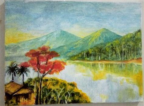 contoh gambar pemandangan alam mudah digambar