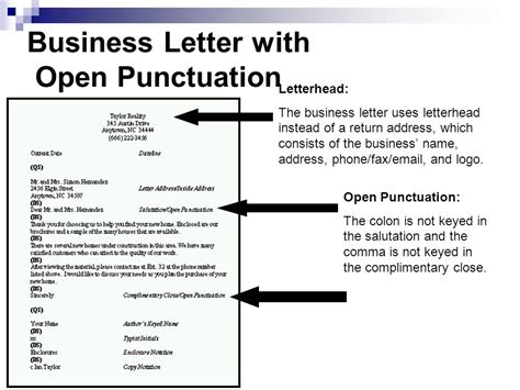 Personal Business Letter Block Style With Open Punctuation apply correct letter formats ppt