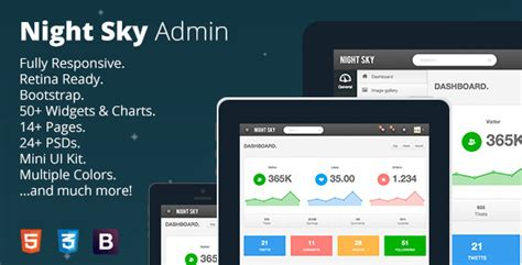 themeforest free bootstrap themes night sky ultimate responsive bootstrap admin by