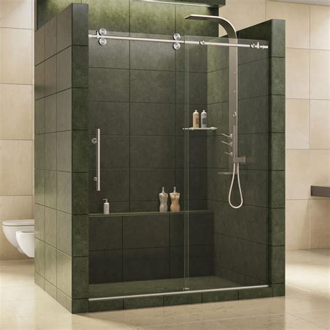 Glass Shower Door Dreamline Enigma 56 In To 60 In X 79 In Frameless Sliding Shower Door In Brushed Stainless