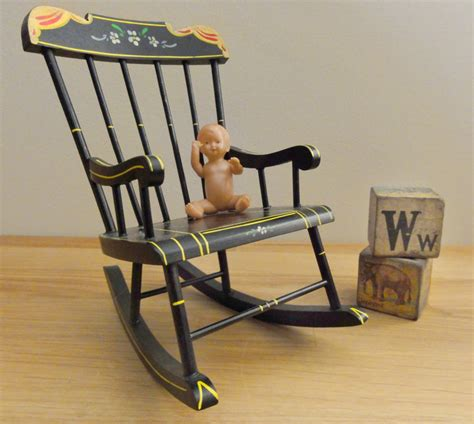 Doll Rocking Chair by Vintage Rocking Chair Miniature Doll Size By Chixycoco On Etsy
