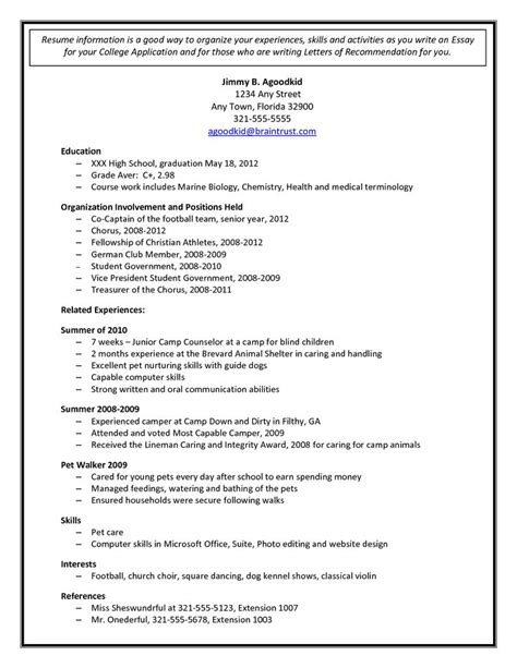 College Admission Resume Template Document Sle Education Pinterest College Admission High School Resume Template For College Application