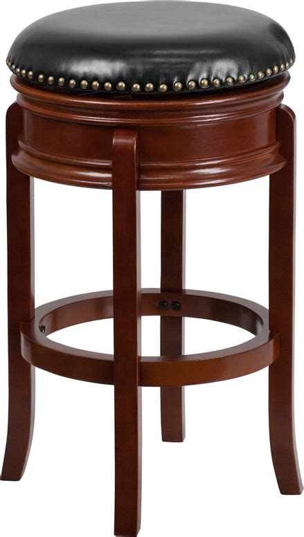 Maple Bar Stools With Leather Seats by 29 High Backless Light Cherry Wood Barstool With Black