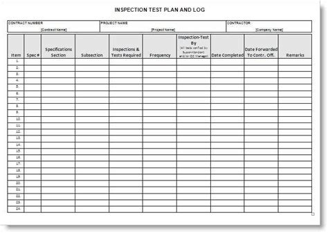 Inspection Test Plan Form Exle Inspection Schedule Template Excel