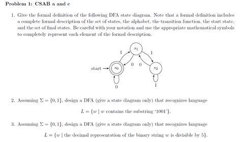 design notes definition solved give the formal definition of the following dfa st