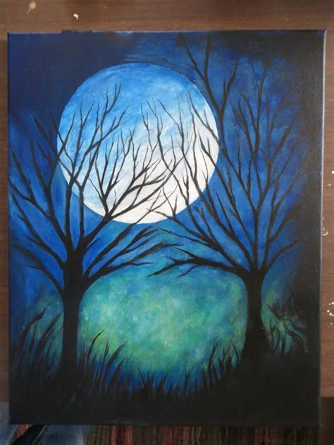 baum cycles paintings abstract modern time moon and trees painting 16