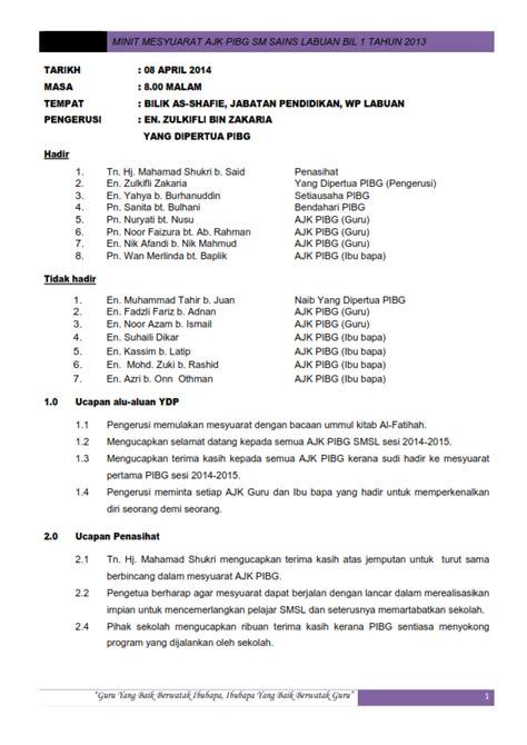 format laporan menghadiri mesyuarat pibg minit mesyuarat ajk pibg kali pertama
