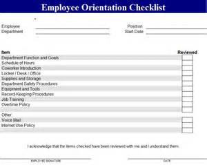 new employee checklist template employee orientation checklist