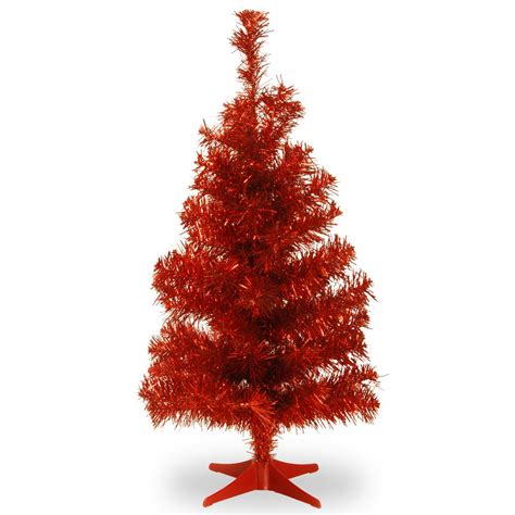 national tree company 3 ft red tinsel artificial