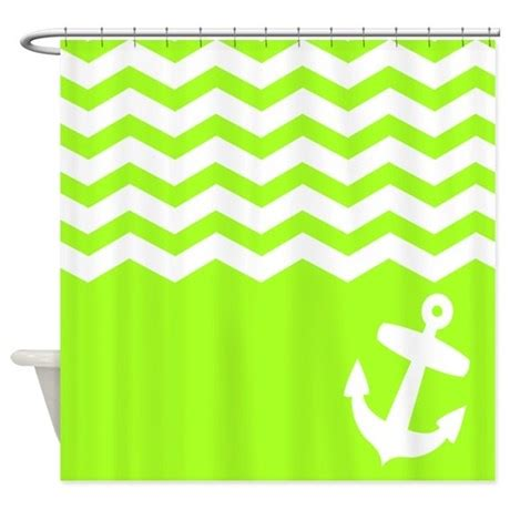 lime green chevron curtains lime green chevron anchor shower curtain by inspirationzstore