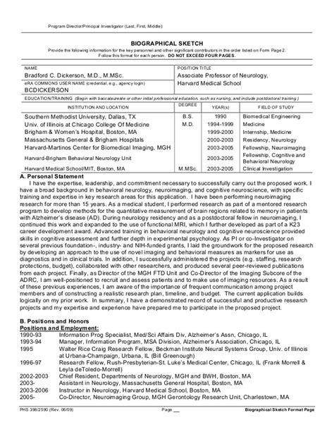 nih biosketch template word personal statement for biosketch sles