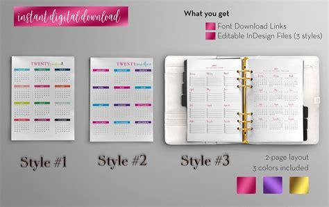 Annual Calendar Pretty Fabulous Designs Blog Indesign Planner Template Free