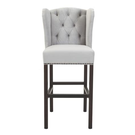 Home Decorators Bar Stools by Home Decorators Madelyn 31 25 In Fog Velvet Cushioned Bar