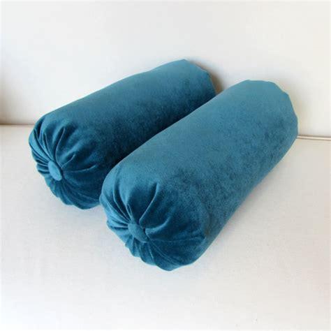 Blue Bolster Pillow by Velvet In Turquoise Blue Bolster Pillows Pair 6x14 6x16 6x18