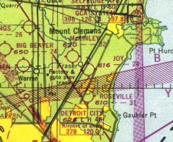 Detroit Sectional Chart by Abandoned Known Airfields Michigan Northeast