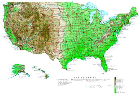 altitude map of usa united states contour map