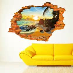 sun and seaside 3d wall stickers window wall vinyl wall full colour woods forest trees jungle cracked 3d wall art