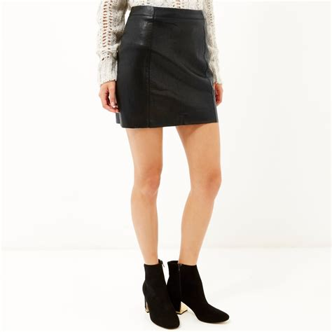 river island black crinkle leather look mini skirt in