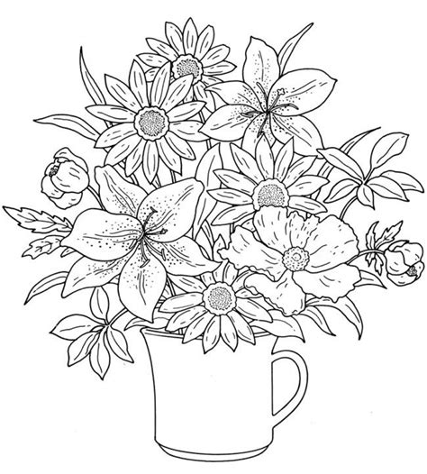 printable coloring pages of realistic flowers get this realistic flowers coloring pages for adults raf61