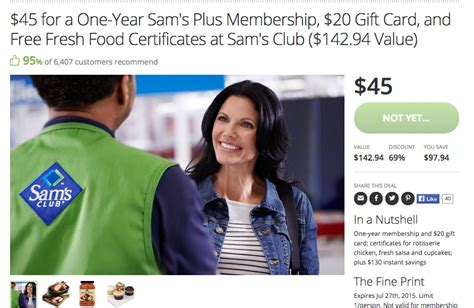 Sam S Club Gift Card Without Membership - discounted sam s club membership 20 gift card food vouchers deals we like