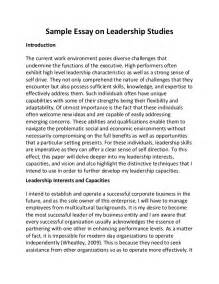 Leadership Strengths Essay by Essay On Leadership Qualities