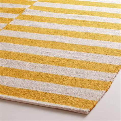yellow striped rug yellow and white striped dhurrie area rug world market