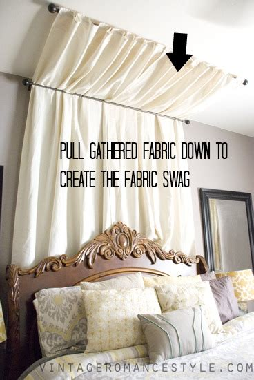Hometalk   DIY No Sew Table Cloth Bed Canopy Tutorial