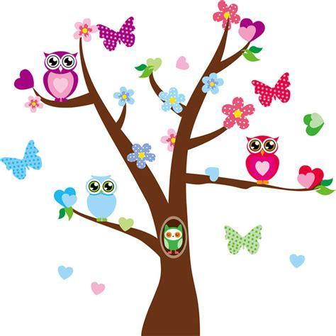 Nursery Wall Stickers Jungle Animals by Owl On Flower Tree Tree Butterfly 60 90cm Wall Sticker